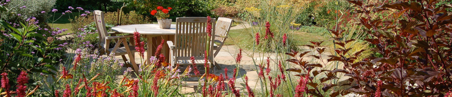 A garden design in Hampshire by Martyn Gingell, 'hot' plant colours in front of a terrace.
