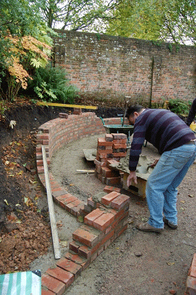Bricklaying in a Hampshire garden designed by Martyn Gingell