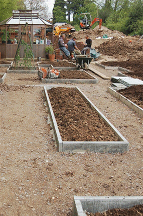 Contractors tea break while building a Hampshire garden to a design by Martyn Gingell